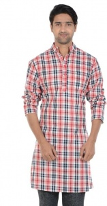S9 MEN Checkered Men's A-line Kurta (Multicolor) S9-MK-602F