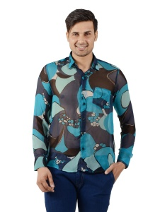 S9 Men Printed Party Shirt For Men (Blues) S9-FS-NIC-09