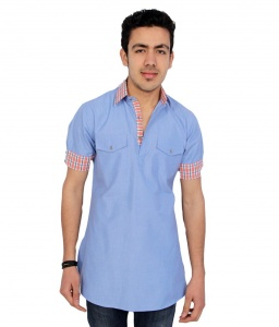S9 Men Blue Pathani Straight Kurta