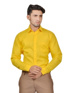 S9 Men Solid Formal Cotton Blend Shirt For Men(Dark Yellow)  -S9-FS-253G2