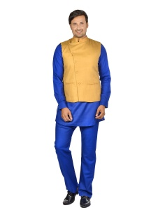 Forge'ko Tan -Blue Pathani Kurta Pyjama Jacket Set