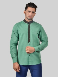 S9 Men Solid Formal Polyester Blend Shirt For Men(Bottle Green Black) - S9-FS-302D