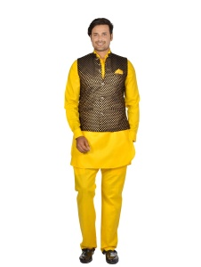 Forge'ko Black Gold - Hot Yellow colored Pathani Kurta Pyjama Jacket Set