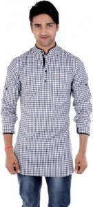 S9 MEN Checkered Men's Pathani Kurta  (Black, White) S9-MK-202B