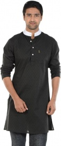 S9 MEN Self Design Men's A-line Kurta  (Black, White) S9-MK-604