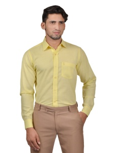 S9 Men Solid Formal Cotton Blend Shirt For Men(Light Yellow)  -S9-FS-253C2