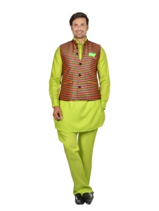 Forge'ko Contrast Multi colored Jacket  with Lime Green Pathani Kurta Pyjama Jacket Set