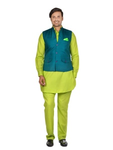 Forge'ko Contrast Bottle Green with Lime Green Pathani Kurta Pyjama Jacket Set
