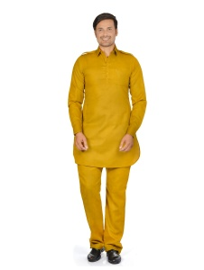 S9 Men Dark Beige Solid Pathani Kurta S9-M-PK-203G