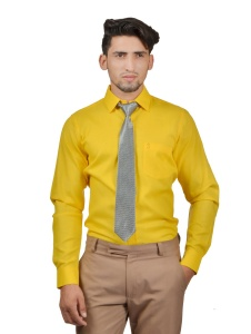 S9 Men Solid Formal Cotton Blend Shirt For Men(Dark Yellow With Grey Tie)  -S9-FS-253G COMBO