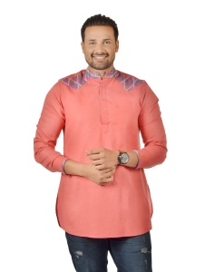 S9 Men Carrot Pink &  Multi Color Pathani Kurta