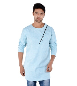 S9 Men Sky Blue Self Textured Angrakha Kurta