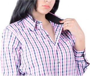 S9 Women's Checkered Casual Pink, Black, White Shirt_S9-W-FS-2009_Pink, Black, White