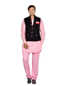 Forge'ko Men' Red Velvet  jacket Set with Dark Pink Solid Pathani Kurta S9-M-PKSET-04D