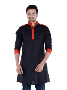 S9 Men Black & Red Solid Pathani Kurta