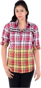 S9 Women's Woven, Checkered Casual Red, White, Yellow Shirt_S9-W-FS-307B_Red, White, Yellow