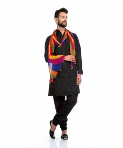 S9 Men Silky Cotton Based Aline Nawaabi Black Kurta  with Churidaar Pajama & Multi colored Scarf