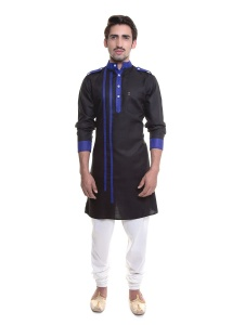 S9 Men Black & Dark Blue Color Solid A-Line Kurta  Pyjama  Set   (1)