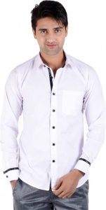 S9 Men's Solid Casual Shirt (White, Black) S9-FS-205