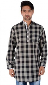 S9 Men Black & Grey Checked Pathani Kurta
