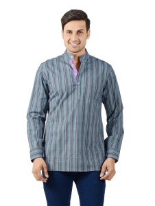 S9 Men Grey & Purple Striped Short Kurta