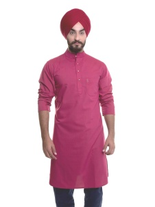 S9 Men Rasberry Pink A-Line Kurta
