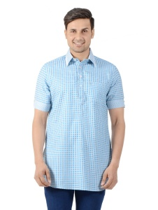 S9 Men Cotton Pathani Shirt Collar Kurta (Light Blue-White) S9-MK-293