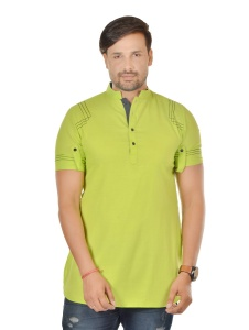 S9 Men Lime Green & Black Color Pathani Kurta