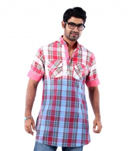 S9 Men Red & White Checked Pathani Kurta