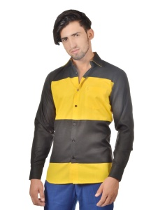 S9 Men Solid Formal Cotton Blend Shirt For Men(Black Yellow)  -S9-FS-251B