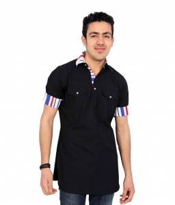 S9 Men Black Pathani Straight Kurta