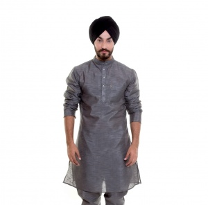 S9 Men Grey Polyester Dupiyon (Slub) sheer Band Collar Kurta   for Under coats & Sherwani #S9-MK-201Z1-DUP