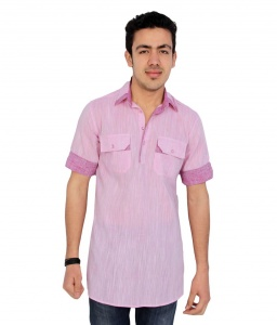 S9 Men Baby Pink Pathani Straight Kurta
