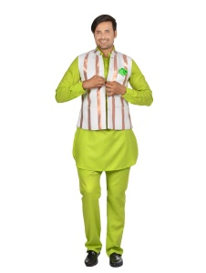Forge'ko White Bronze with Lime Green Pathani Kurta Pyjama Jacket Set