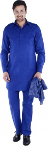 S9 Men Dark Blue Solid Pathani Kurta