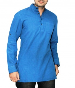 S9 Men Blue Solid Straight Kurta
