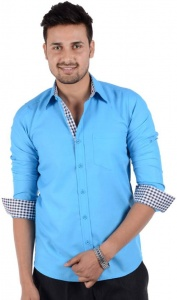 S9 Men's Solid Casual Blue Shirt S9-FS-211D