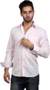 S9 Men's Solid, Woven, Casual Shirt (Pink, Maroon, White) S9-FS-217D