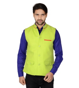 ForgeKo Leaf Green Nehru Jacket