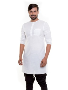 S9 Men  White Cotton sheer Round Neck Kurta for Under coats (1)