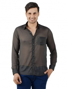 S9 Men Solid Casual Shirt For Men (Grey) S9-FS-NIC-08