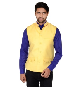 Forge'ko Economical Self Design Men's Waistcoat (Tango Yellow) FO-M-WC-ECO-19