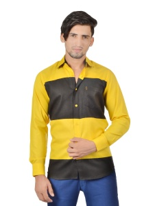 S9 Men Solid Formal Cotton Blend Party  Shirt For Men(Yellow Black)  -S9-FS-251D