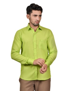 S9 Men Solid Formal Cotton Blend Shirt For Men(Lime Green)  -S9-FS-253E Casual