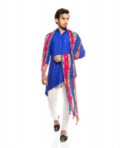 S9 Men Royal Blue & Golden Jacquard Woven Diagonal Cut Kurta  with White Churidaar Pajama with Multi colored scarf