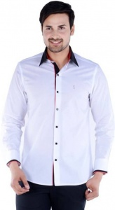S9 Men Solid Party Shirt For Men  (White) S9-FS-233A