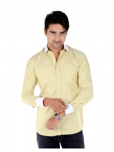 S9 Men's Solid, Striped Formal Shirt (Green, White) S9-FS-209D