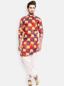 S9 Men Traditional Muti color Printed Fully lined Kurta with White Pajamal