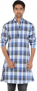 S9 MEN Checkered Men's A-line Kurta  (Blue, White, Black) S9-MK-602P