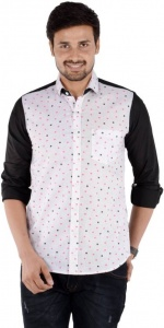 S9 Men's Solid, Printed Casual Linen Look Shirt (Black, White, Pink) S9-FS-227C